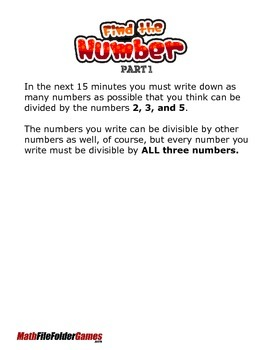 Find the Number - become familiar with the rules for divisibility