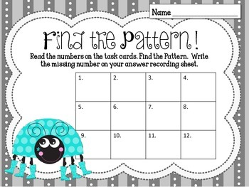 Find the Number Pattern Task Cards. Patterns, Skip Counting. Lady Bugs