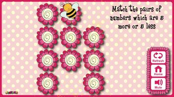 Find the Numbers 1, 5 or 10 More or Less - Match the Pairs Memory Game
