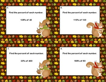 Find the Percent of Each Number- 40 Task Card-Autumn Theme-Grades 6-8