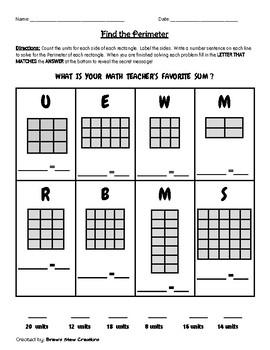 Find the Perimeter Riddle Worksheet