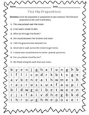 Preposition Worksheet : Find the Prepositions
