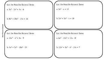 Find the Rational Zeros of a Polynomial Task Cards