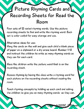 Find the Rhyme Read the Room: common core, word work