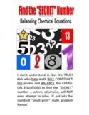 SALE . . . $8.50 . . . Find the SECRET NUMBER  -  Balancing Chemical Equations