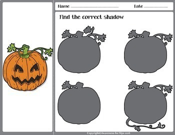 Find the Shadow; Halloween Theme ( Visual Discrimination Activity)