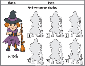 Visual Discrimination & Processing: Halloween Shadow Matching Worksheets & Cards