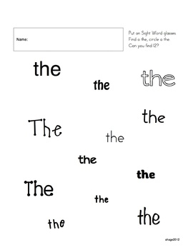 Find the Sight Word THE