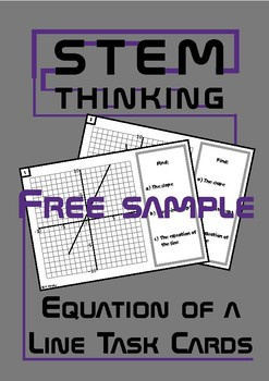 Slope Equation of a Line Math Task Cards FREE Sample