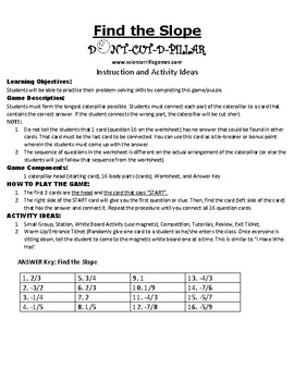 Find the Slope Game Puzzle with Worksheet