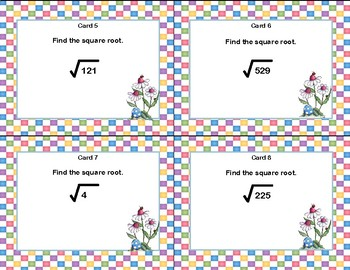 Find the Square Root - Grades 7-8 - 40 Task Cards