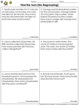 Find the Sum (No Regrouping): 2-digit Addition Problem Solving Practice Sheets