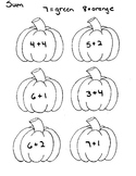 Color by Sum Pumpkins Numbers 7 and 8