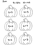 Color by Sum Pumpkins Numbers 9 and 10