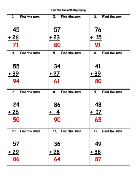 Find the Sum with Regrouping (2-digit Numbers) Addition Practice Sheets