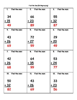 Find the Sum without Regrouping (2-digit Numbers) Addition Practice Sheets