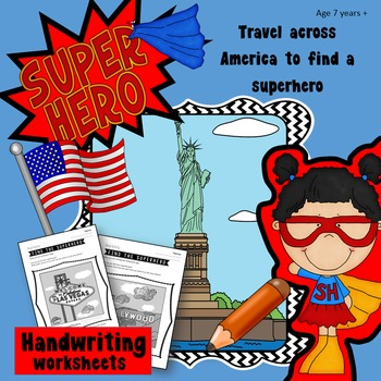 Handwriting Games: Find the Superhero hidden in America, G