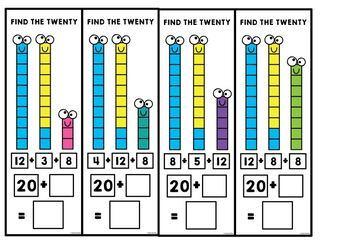 Find the Twenty - Bridging to 20 Addition Activity Cards