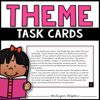 Theme Task Cards with Short Passages