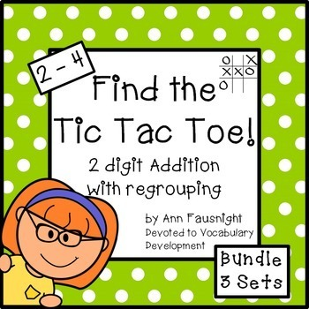 Find the Tic Tac Toe! 2-digit addition with regrouping Bundle 3 Sets