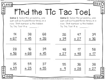 Find the Tic Tac Toe 2 digit addition with regrouping Set 3