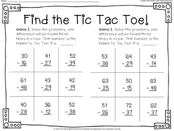 Find the Tic Tac Toe! 2-digit subtraction with regrouping Set 2