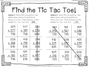 Find the Tic Tac Toe! 3-digit addition with regrouping Bundle 3 Sets