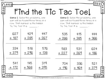 Find the Tic Tac Toe 3 digit addition with regrouping Set 1