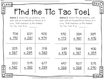 Find the Tic Tac Toe 3 digit addition with regrouping Set 2