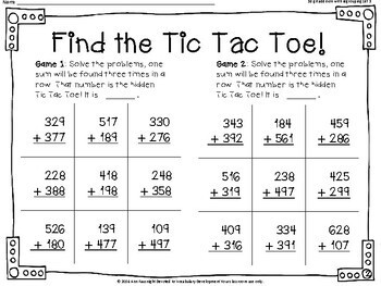 Find the Tic Tac Toe 3 digit addition with regrouping Set 3