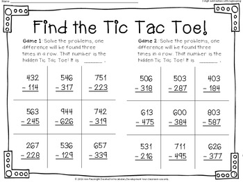 Find the Tic Tac Toe! 3-digit subtraction with regrouping Set 1