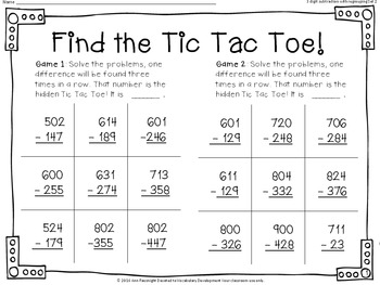 Find the Tic Tac Toe! 3-digit subtraction with regrouping Set 2