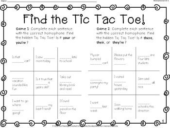 Find the Tic Tac Toe! Homophones