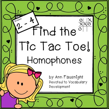 Find the Tic Tac Toe! Homophones