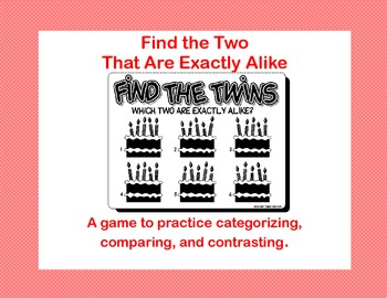 Find the Twins-A Learning Center Game for Emergent Readers