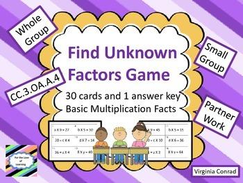 Unknown Factors Game--CC.3.OA.A.4
