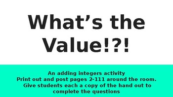 Find the Value! An Adding Integers Activity with Memes