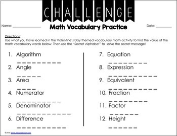 Valentine's Day Math Activity- Find the Value of the Vocabulary Words