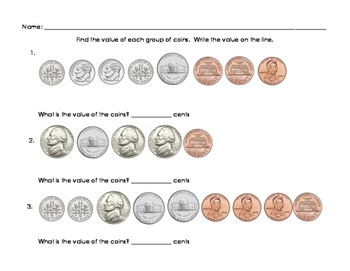 Find the Value of a Group of Coins - Ordered
