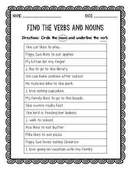Find the Verbs and Nouns