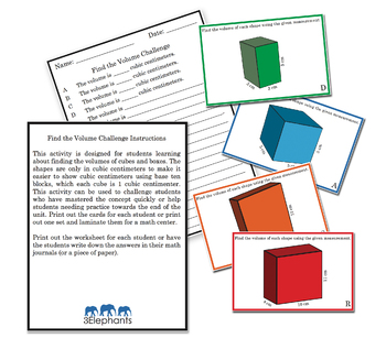 Find the Volume Challenge Task Cards