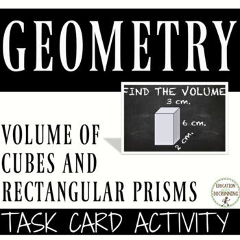 Volume of Cubes and Rectangular Prisms Task Card Activity (6.G.A.2.)