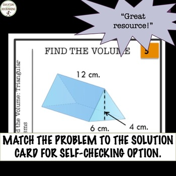Volume of Triangular Prisms Task Card Activity