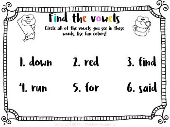 Find the Vowels! Pre-K sight words