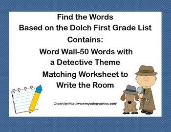 First Grade Find the Word -A Word Wall and Write the Room