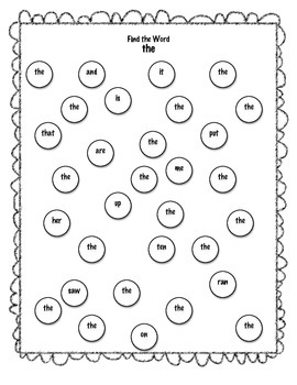 Find the Word- Sight Word Bingo Dauber Search