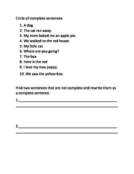 Find the complete sentences