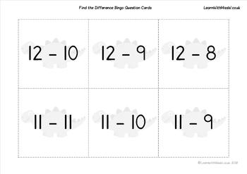 Find the difference subtraction bingo to 20