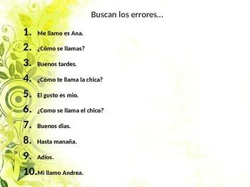 Find the errors in Spanish conversation