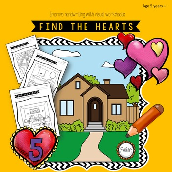 Find the hearts and improve cursive handwriting: Grade 1 to 6, Age 6 to 11